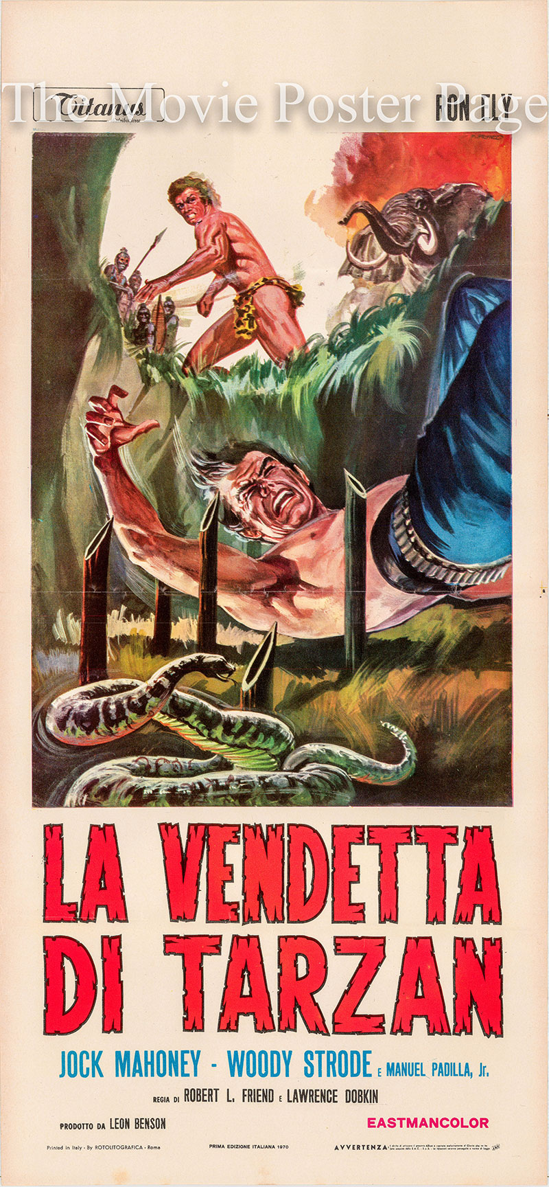 Pictured is an Italian promotional locandina poster for the 1970 Robert L. Friend film Tarzans Deadly Silence starring Ron Ely.