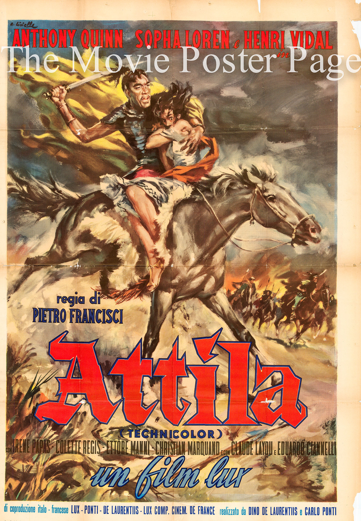 Pictured is an Italian two-sheet 1956 rerelease promotional poster for the 1954 Pietro Francisci film Attila starring Anthony Quinn and Sophia Loren.