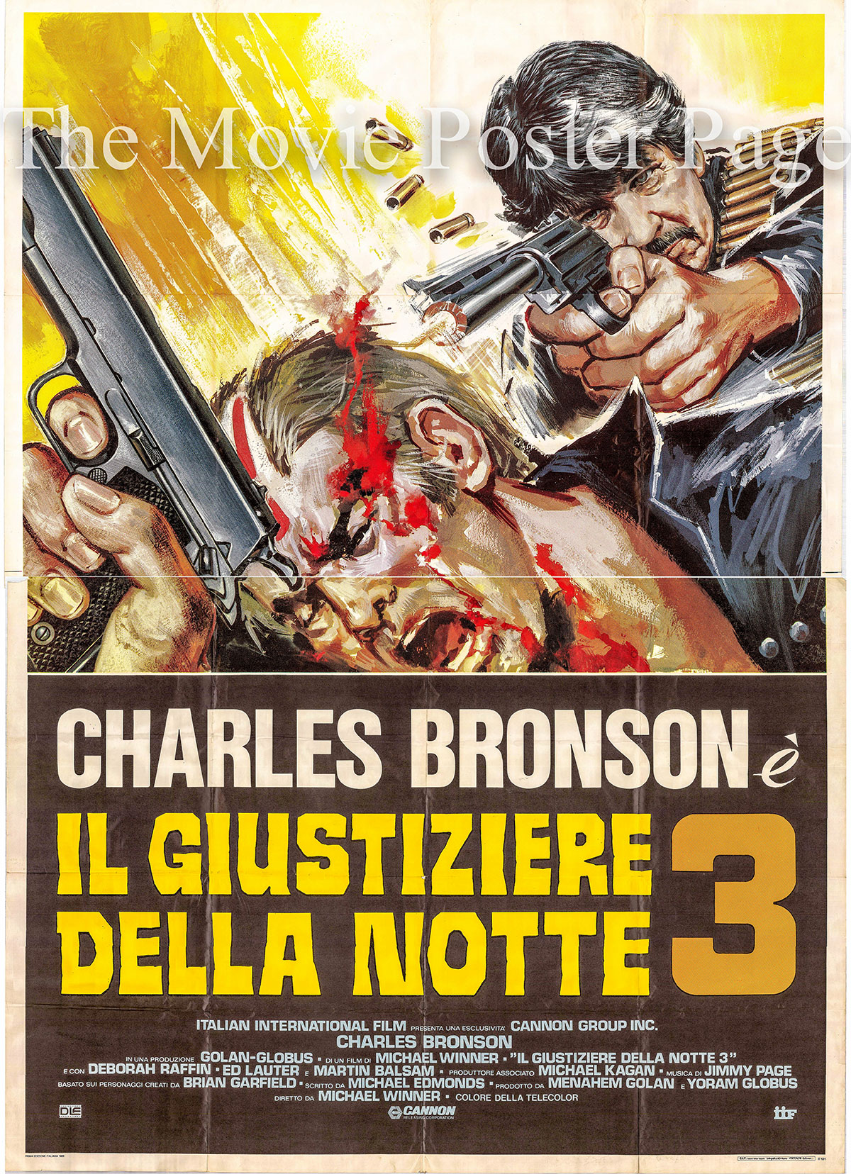 Pictured is an Italian four-sheet promotional poster for the 1985 Michael Winner film Death Wish 3 starring Charles Bronson.