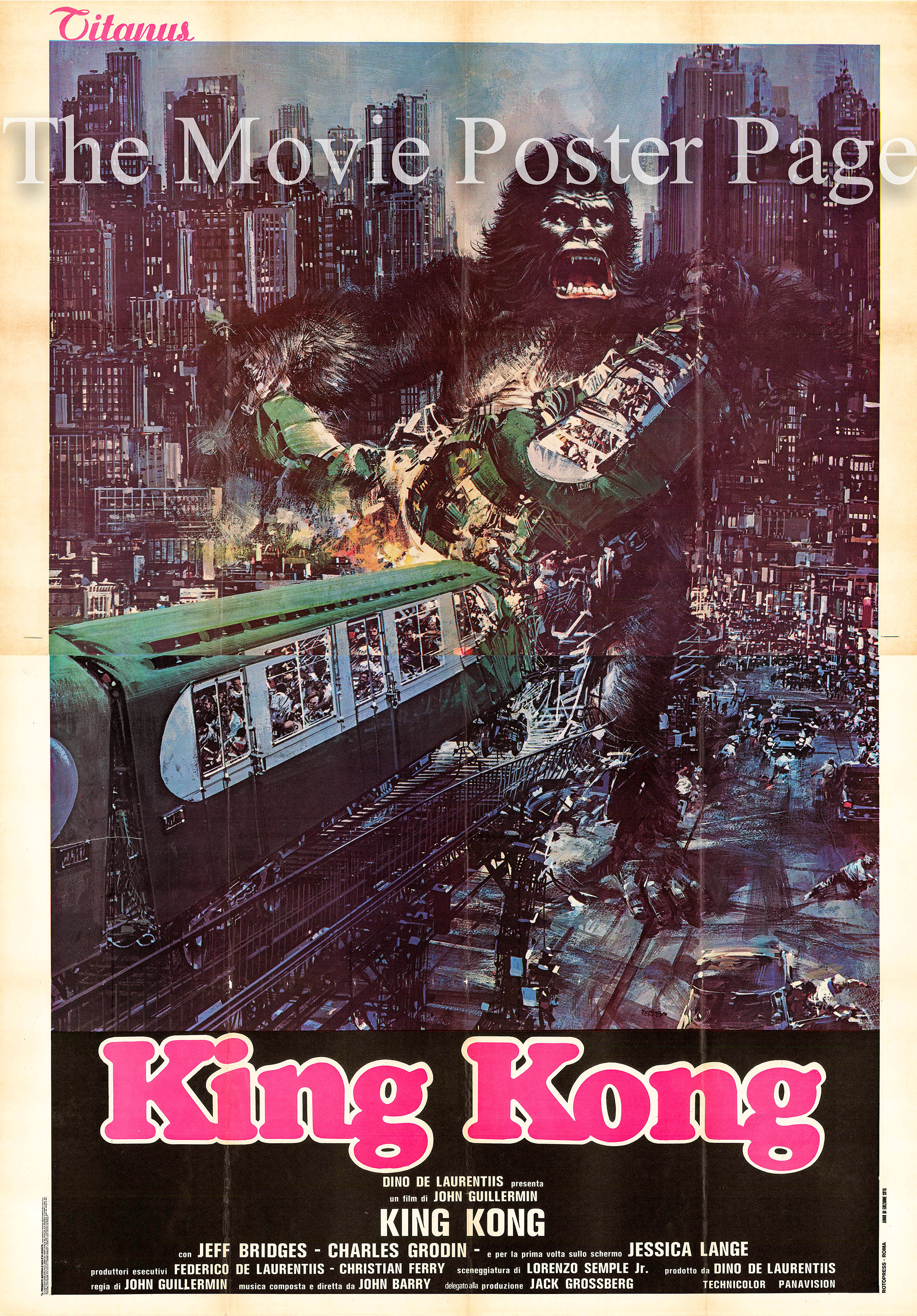 Pictured is an Italian 4-sheet promotional poster for the 1976 John Guillermin film King Kong starring Jeff Bridges and Jessica Lange.