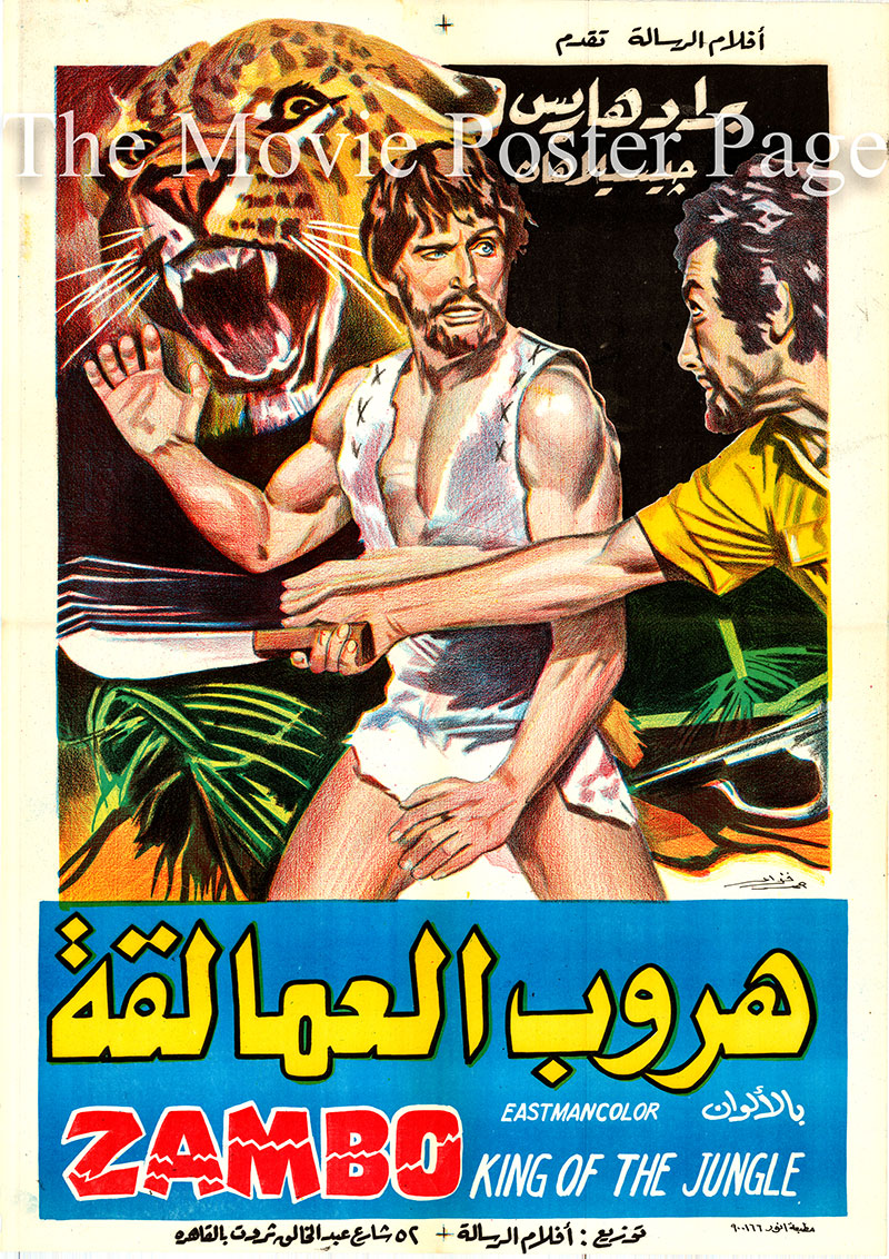 Pictured is an Egyptian promotional poster for the 1972 Bitto Albertini film Zambo King of the Jungle starring Brad Harris.