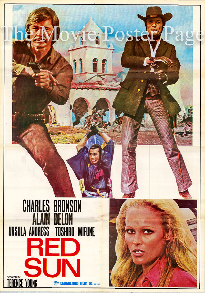 Pictured is Lebanese one-sheet promotional poster for the 1971 Terence Young film Red Sun starring Charles Bronson and Alain Delon.