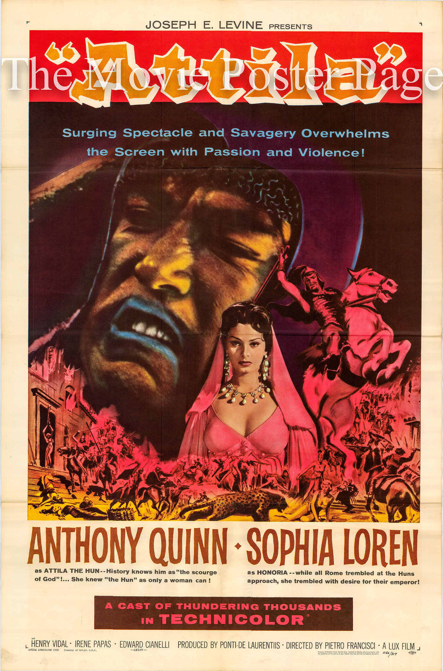 Pictured is a US one-sheet promotional poster for a 1962 rerelease of the 1954 Pietro Francisci film Attila starring Anthony Quinn and Sophia Loren.