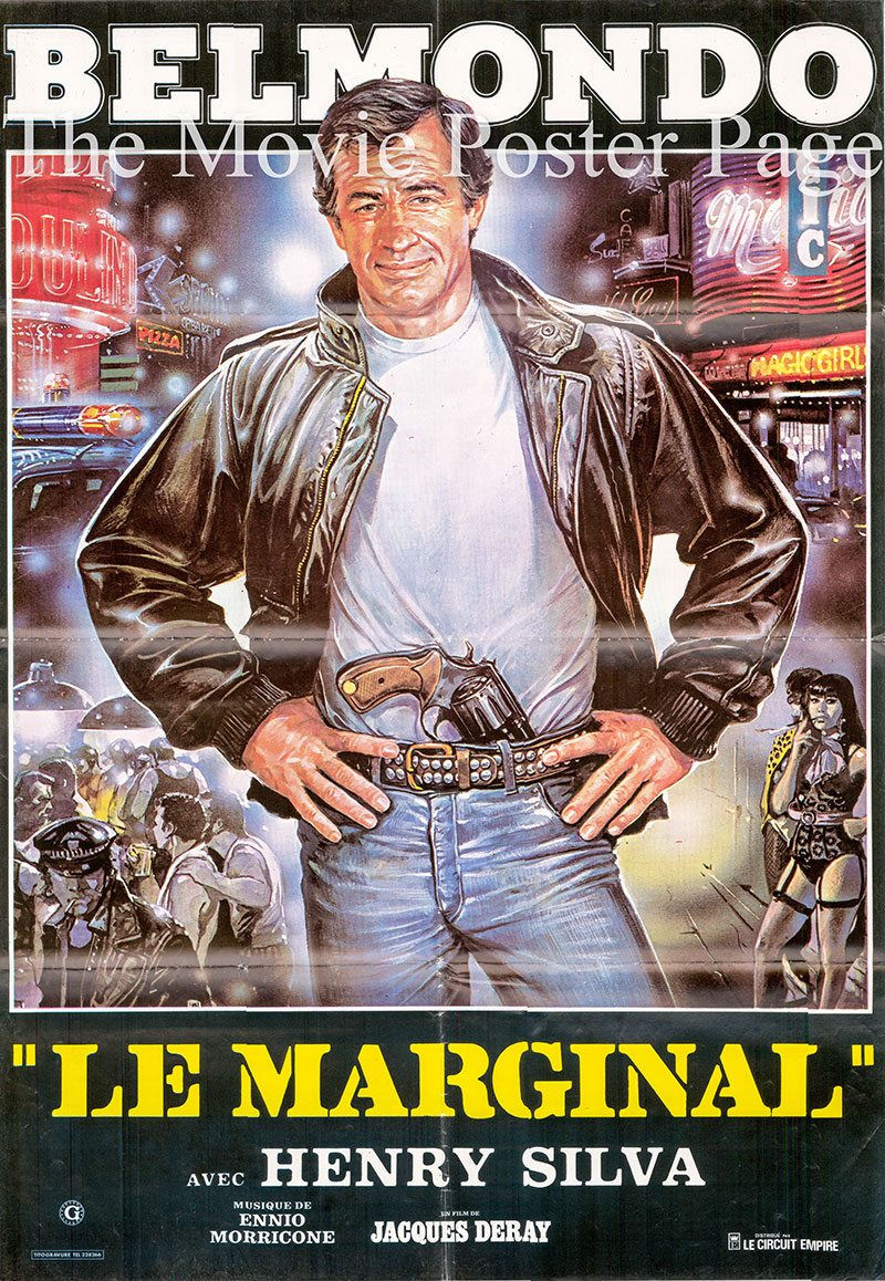Pictured is a Lebanese one-sheet promotional poster for the 1983 Jacques Deray film Le Marginal [the Outsider] starring Jean-Paul Belmondo.