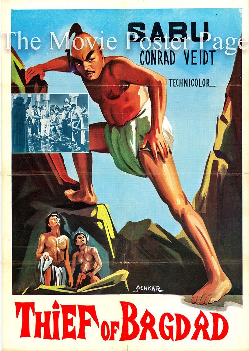 Pictured is a Turkish promotional poster for the 1940 Ludwig Berger and Michael Powell film The Thief of Baghdad, starring Sabu.