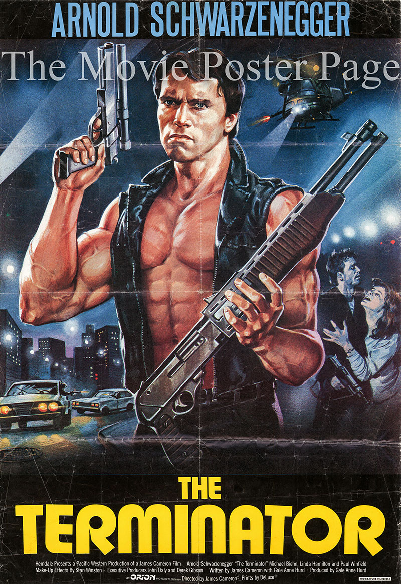 Pictured is an Lebanese one-sheet promotional poster for the 1984 James Cameron film The Terminator starring Arnold Schwarzenegger.