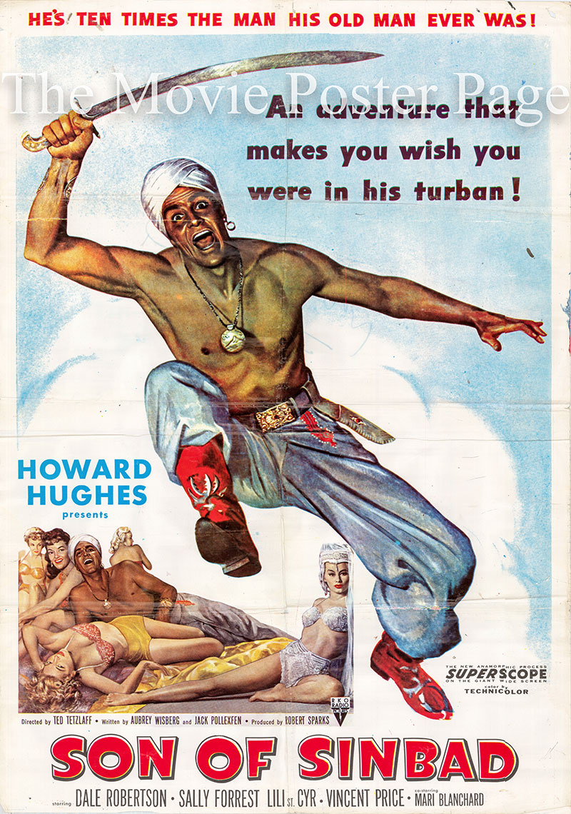Pictured is a one-sheet promotional poster for the 1955 Ted Tetzlaff film Son of Sinbad starring Dale Robertson.