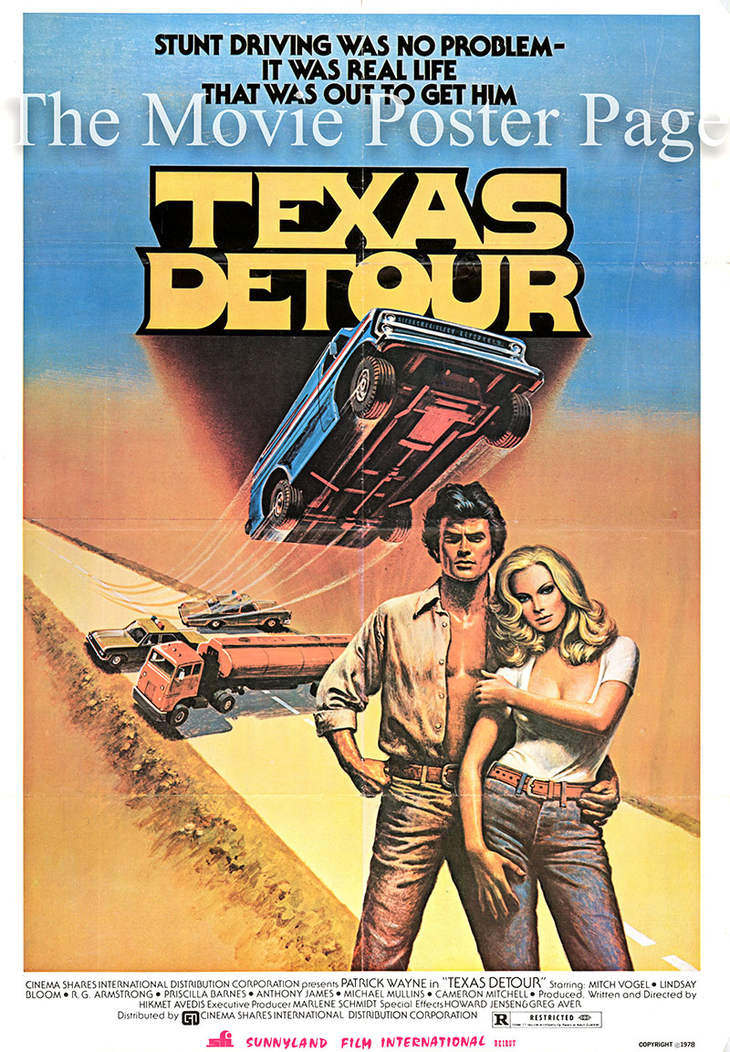 Pictured is a Lebanese one-sheet promotional poster for the 1978 Howard Avedis film Texas Detour starring Patrick Wayne.