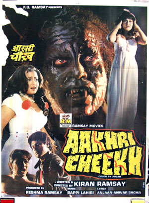 Pictured is an Indian promotional poster for the 1991 Kiran Ramsay film Aakhri Cheekh starring Vijay Arora.