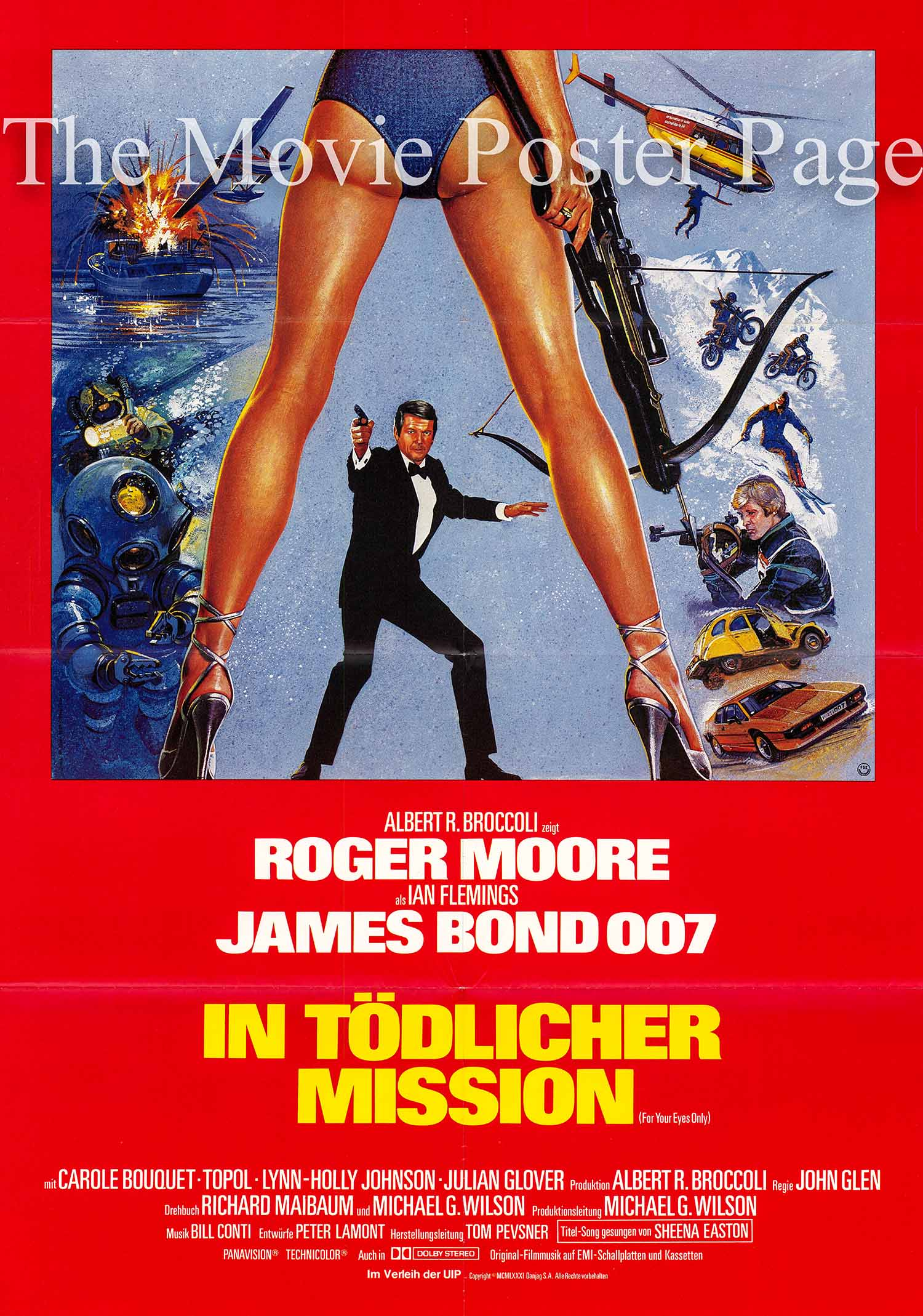 Pictured is a German promotional poster for the 1981 John Glen film For Your Eyes Only starring Roger Moore as James Bond.
