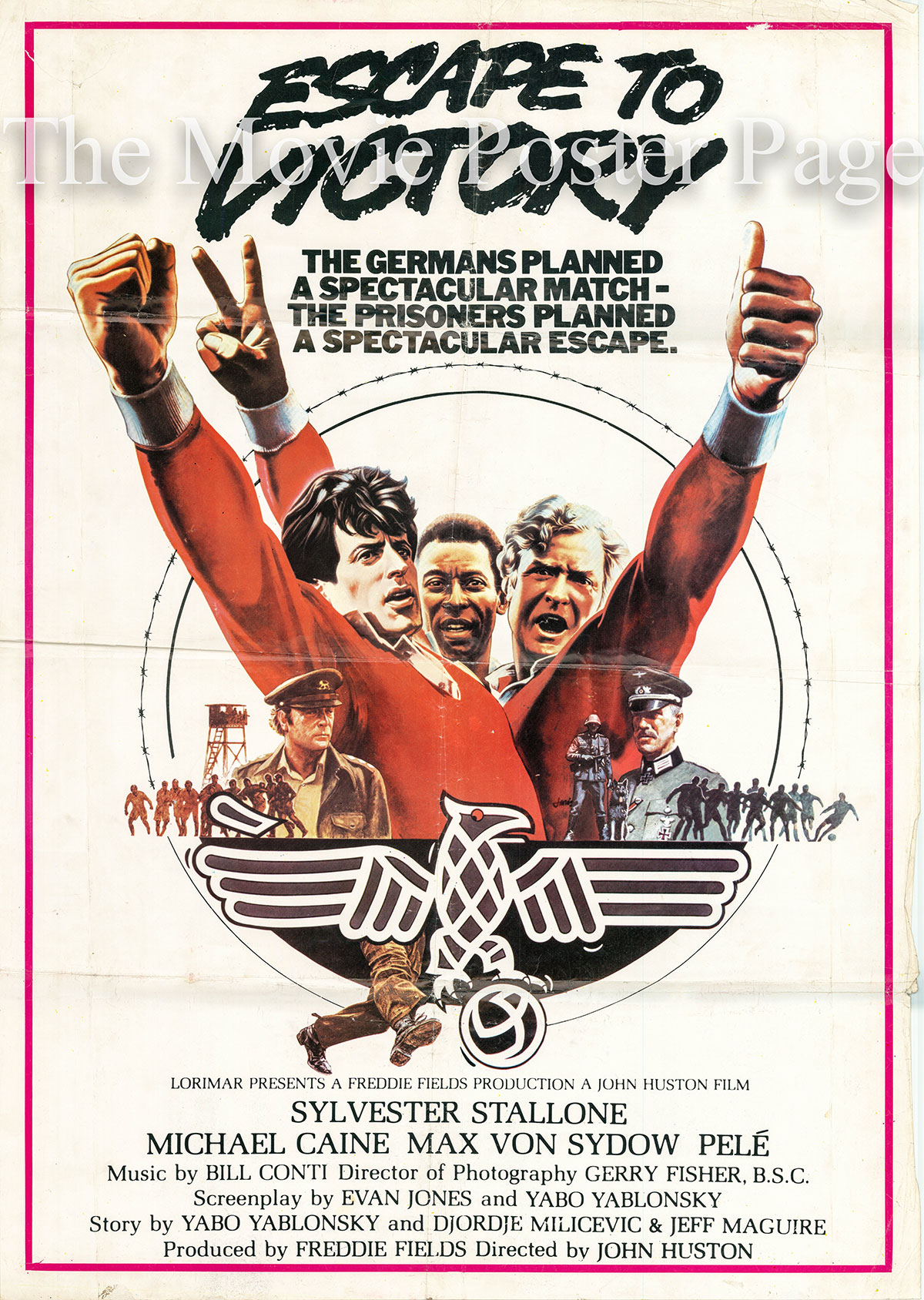 Pictured is a UK promotional poster for the 1981 John Huston film Escape to Victory starring Sylvester Stallone.
