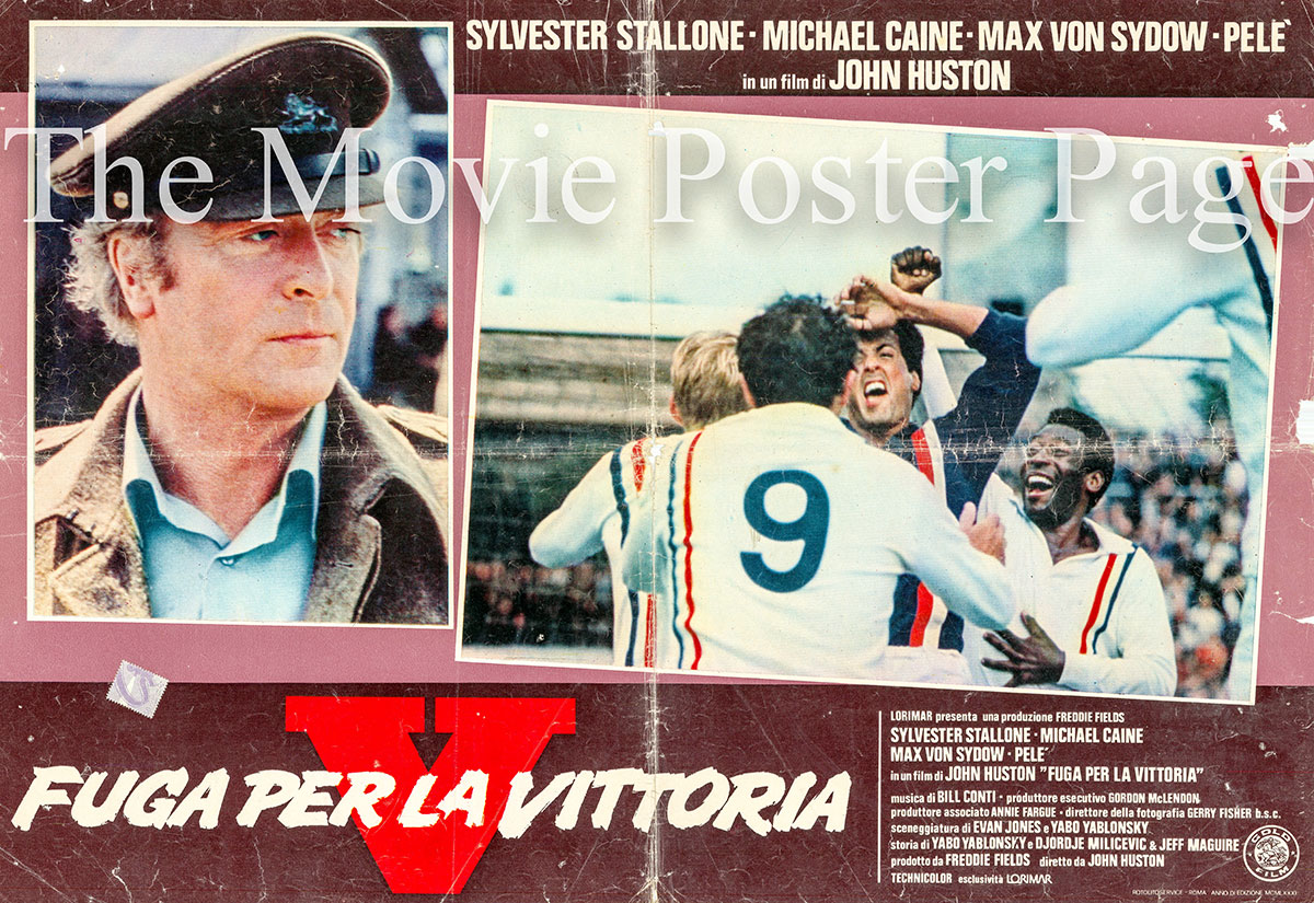 Pictured is an Italian locandina for the 1981 John Huston film Escape to Victory starring Sylvester Stallone.