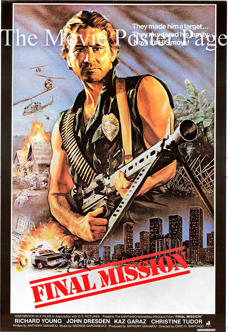 Pictured is an Lebanese one-sheet promotional poster for the 1984 Cirio H. Santiago film Final Mission starring Richard Young.