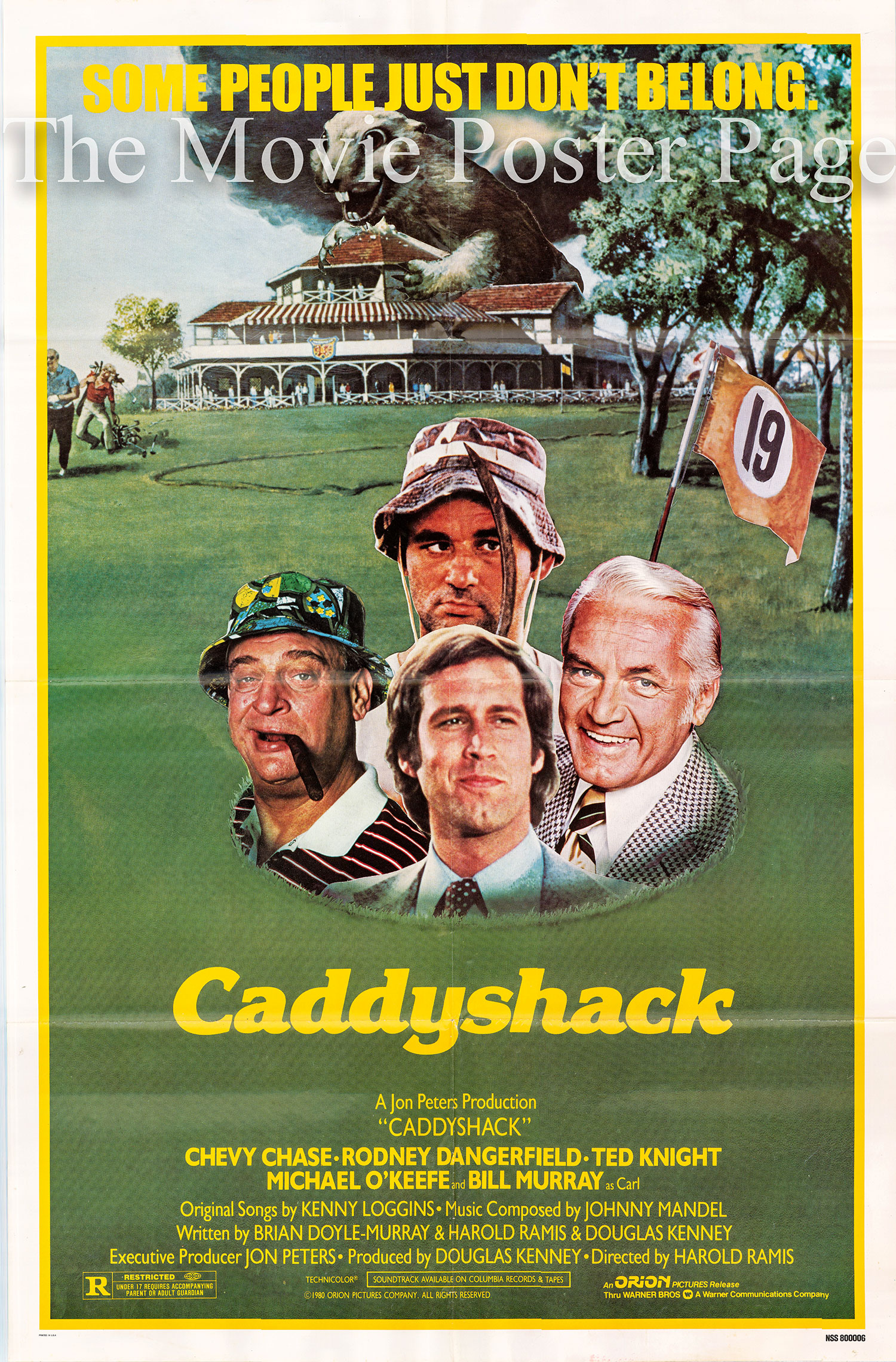 Pictured is a US one-sheet promotional poster for the 1980 Harold Ramis film Caddyshack starring Chevy Chase, Rodney Dangerfield and Ted Knight.