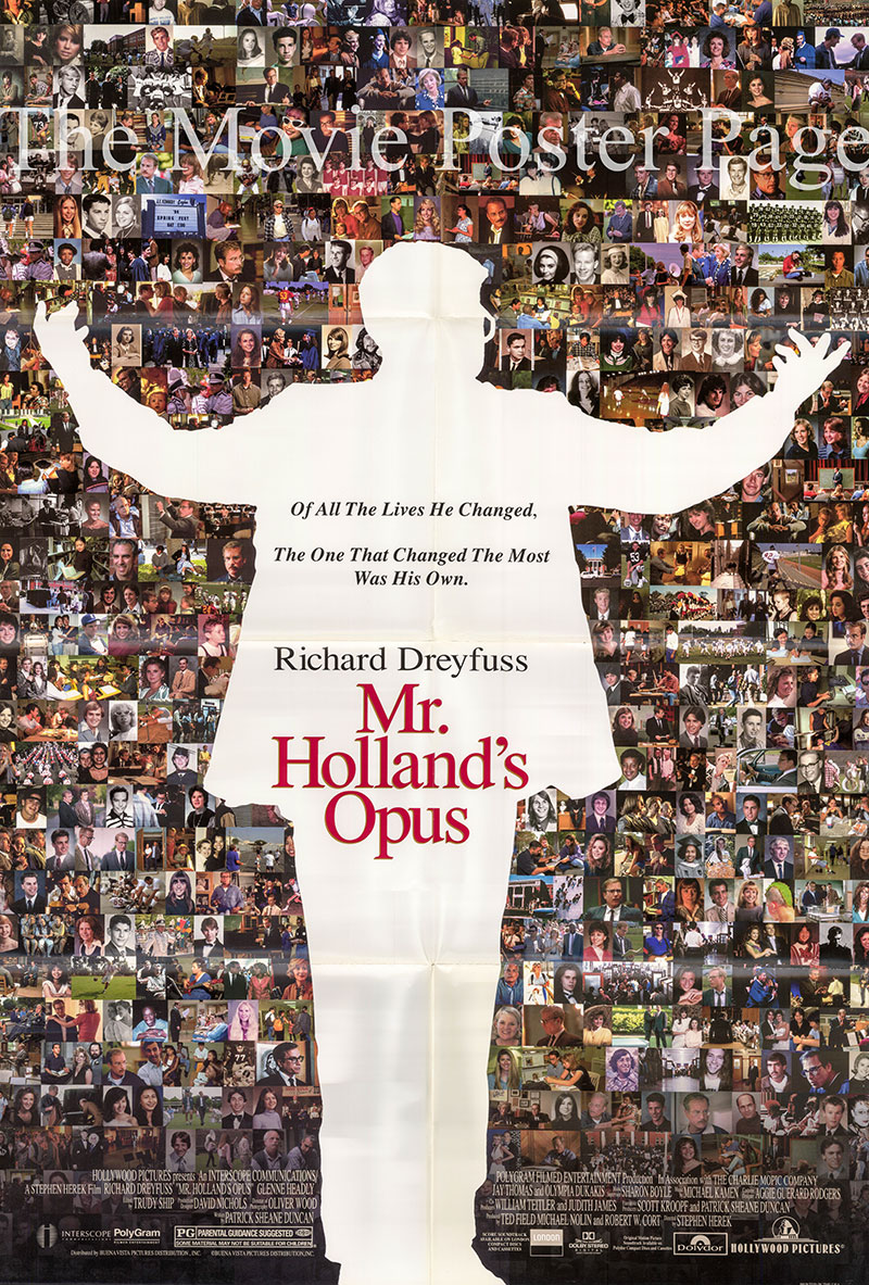 Pictured is a US one-sheet promotional poster for the 1995 Stephen Herek film Mr. Holland's Opus starring Richard Dreyfuss.