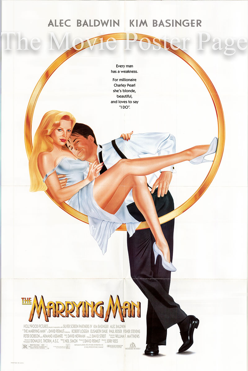 Pictured is a US one-sheet promotional poster for the 1991 Jerry Rees film The Marrying Man starring Kim Basinger based on a play by Neil Simon.
