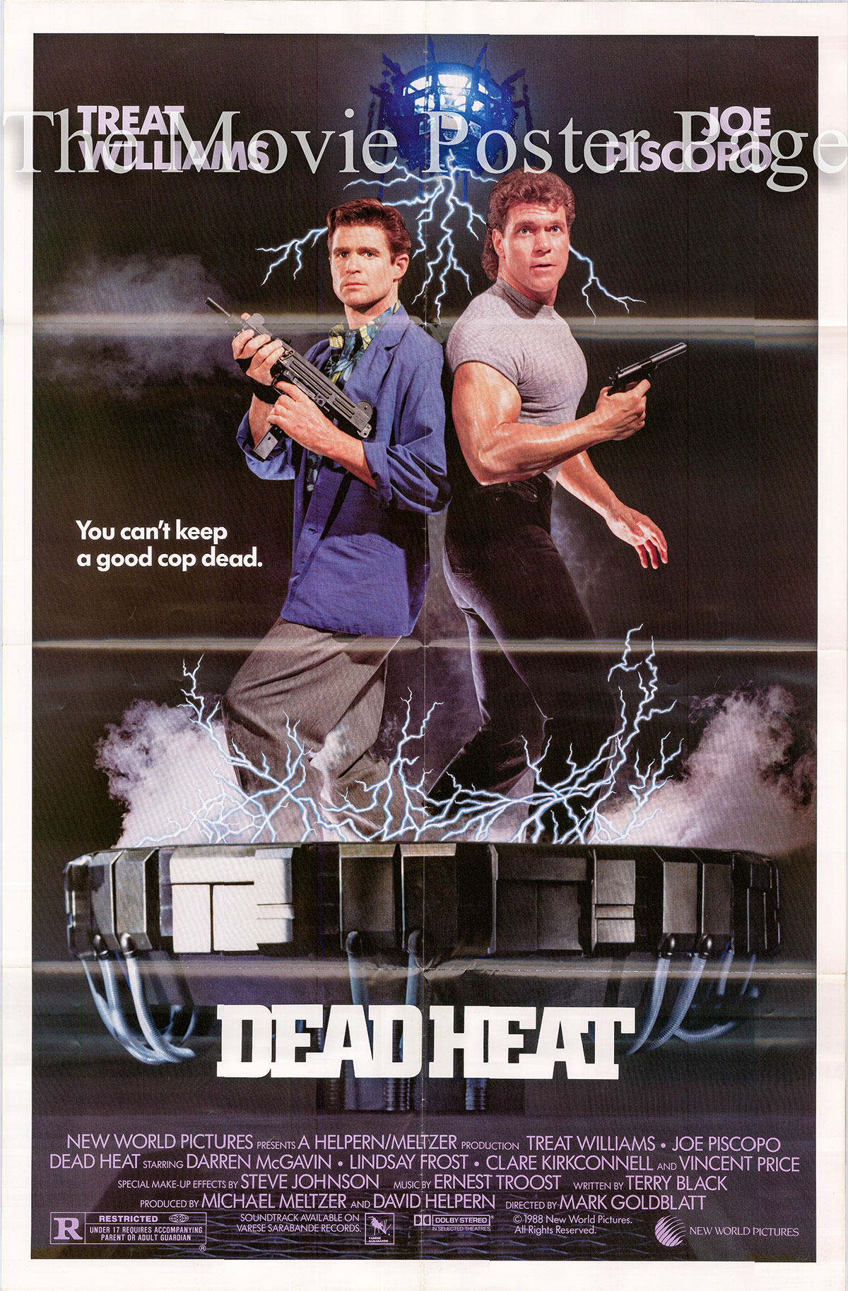 Pictured is a US one-sheet promotional poster for the 1988 Mark Goldblatt film Deat Heat starring Treat Williams.