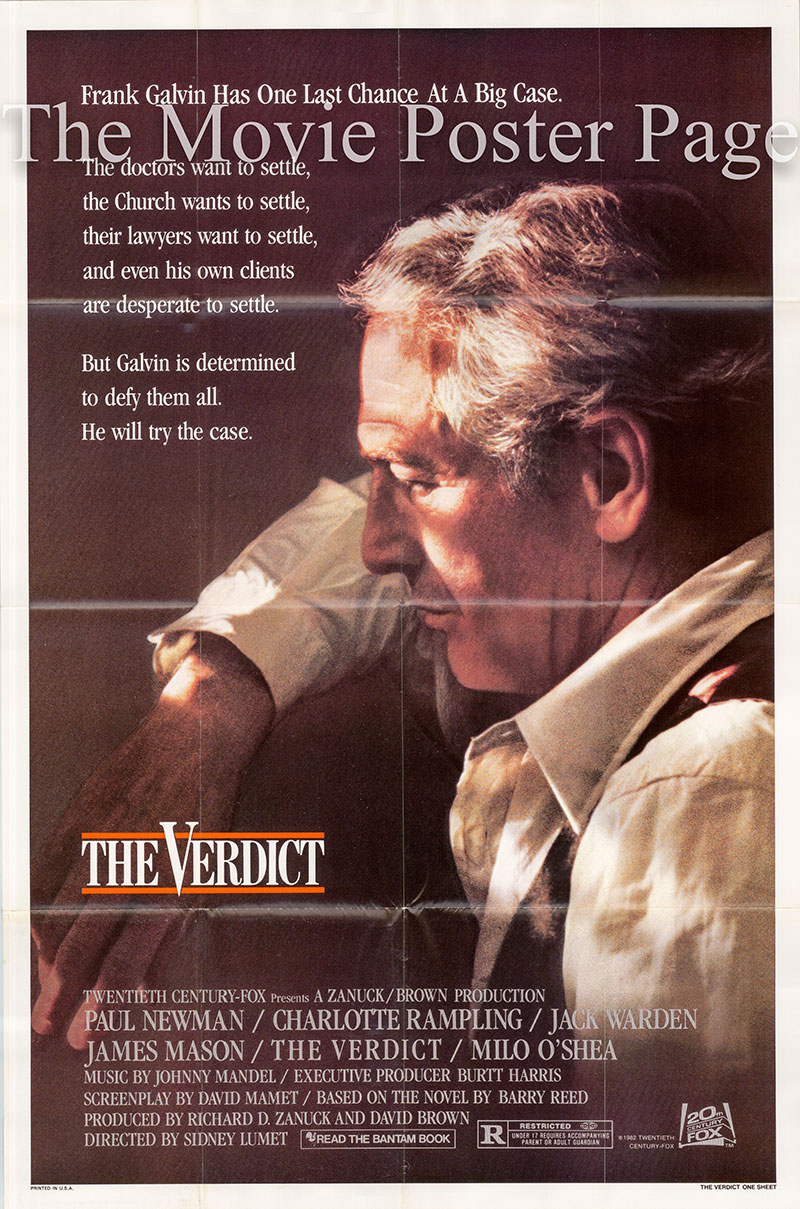 Pictured is a US one-sheet promotional poster for the 1982 Sidney Lumet film The Verdict starring Paul Newman, with screenplay by David Mamet.