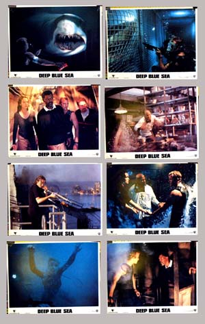 Pictured is a set of 8 US lobby cards for the 1999 Renny Harlin film Deep Blue Sea, starring Thomas Jane.