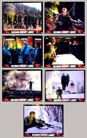 Pictured are 7 US promotional lobby cards for 2001 John Moore film Behind Enemy Lines starring Gene Hackman and Owen Wilson.