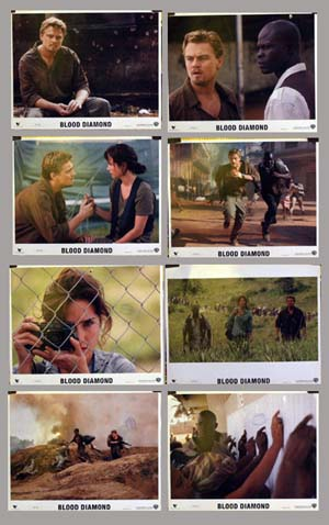 Pictured are 8 US lobby cards as promotional material for the 2006 Edward Zwick film Blood Diamond, starring Leonardo DiCaprio.