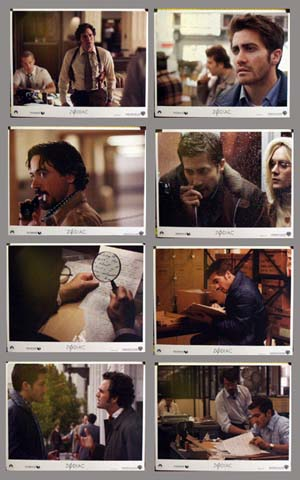 Pictured is a US lobby card set for the 2007 David Fincher film Zodiac starring Jake Gyllenhaal.