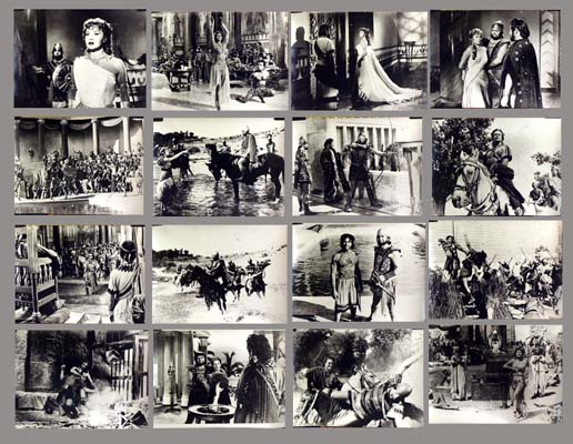 Pictured are 16 Italian black and white stills from the 1955 Carlo Ludovico Bragalia film Queen of Babylon, starring Rhonda Fleming.