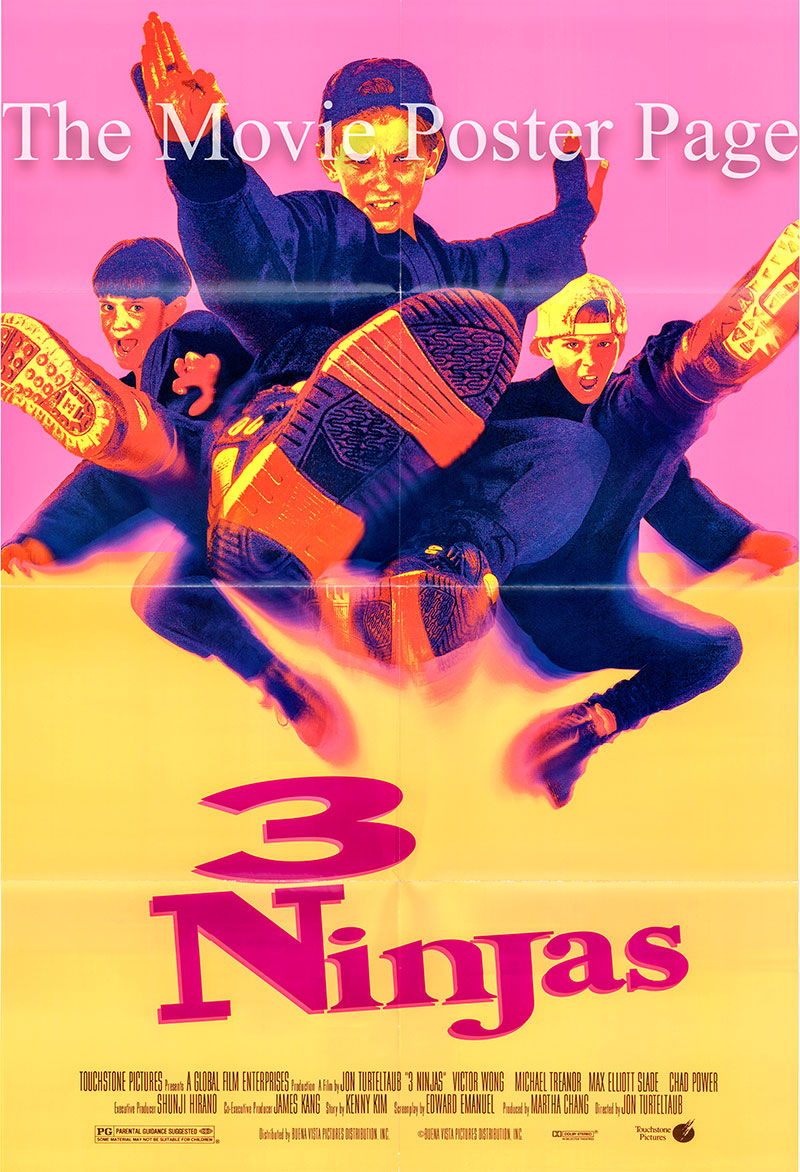 Pictured is a US one-sheet promotional poster for the 1992 Jon Turteltaub film 3 Ninjas starring Victor Wong.