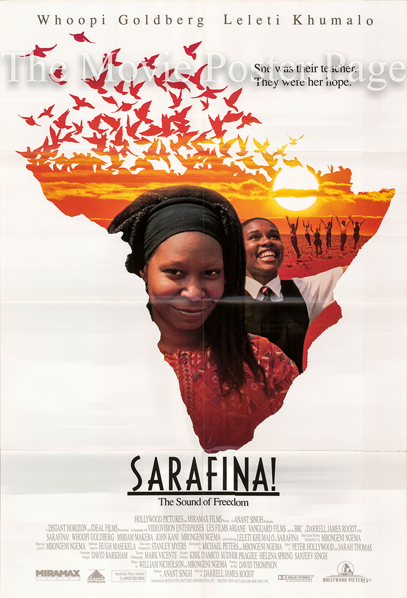 Pictured is a US one-sheet promotional poster for the 1992 Darrell Roodt film Sarafina! starring Whoopi Goldberg and Miriam Makeba.