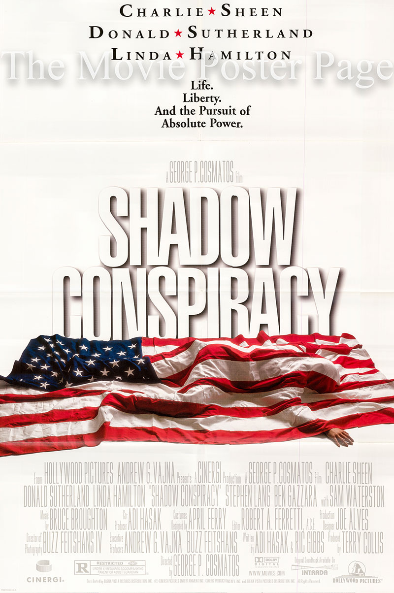 Pictured is a US one-sheet promotional poster for the 1997 George P. Cosmatos film Shadow Conspiracy starring Charlie Sheen.