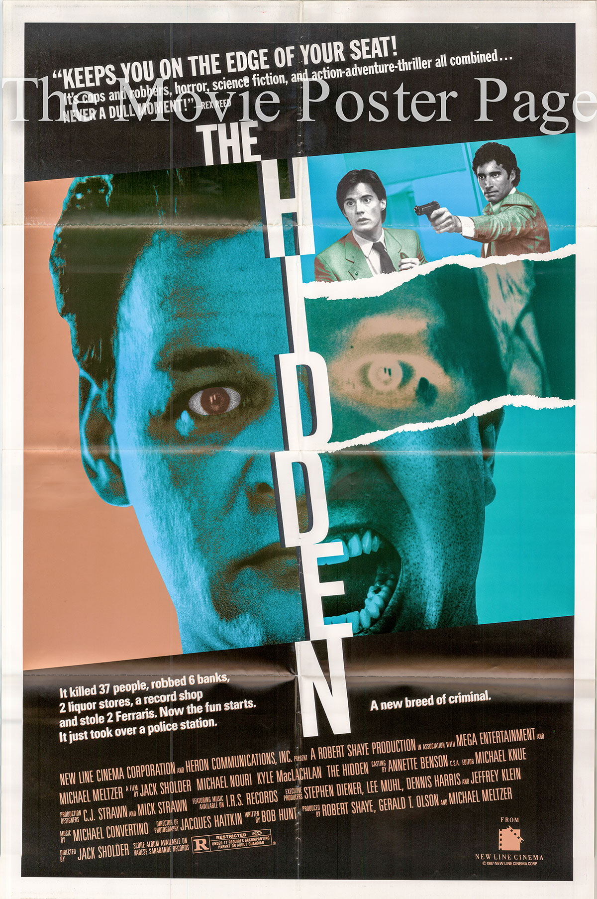 Pictured is a US one-sheet promotional poster for the 1987 Jack Sholder film The Hidden starring Kyle MacLachlan.