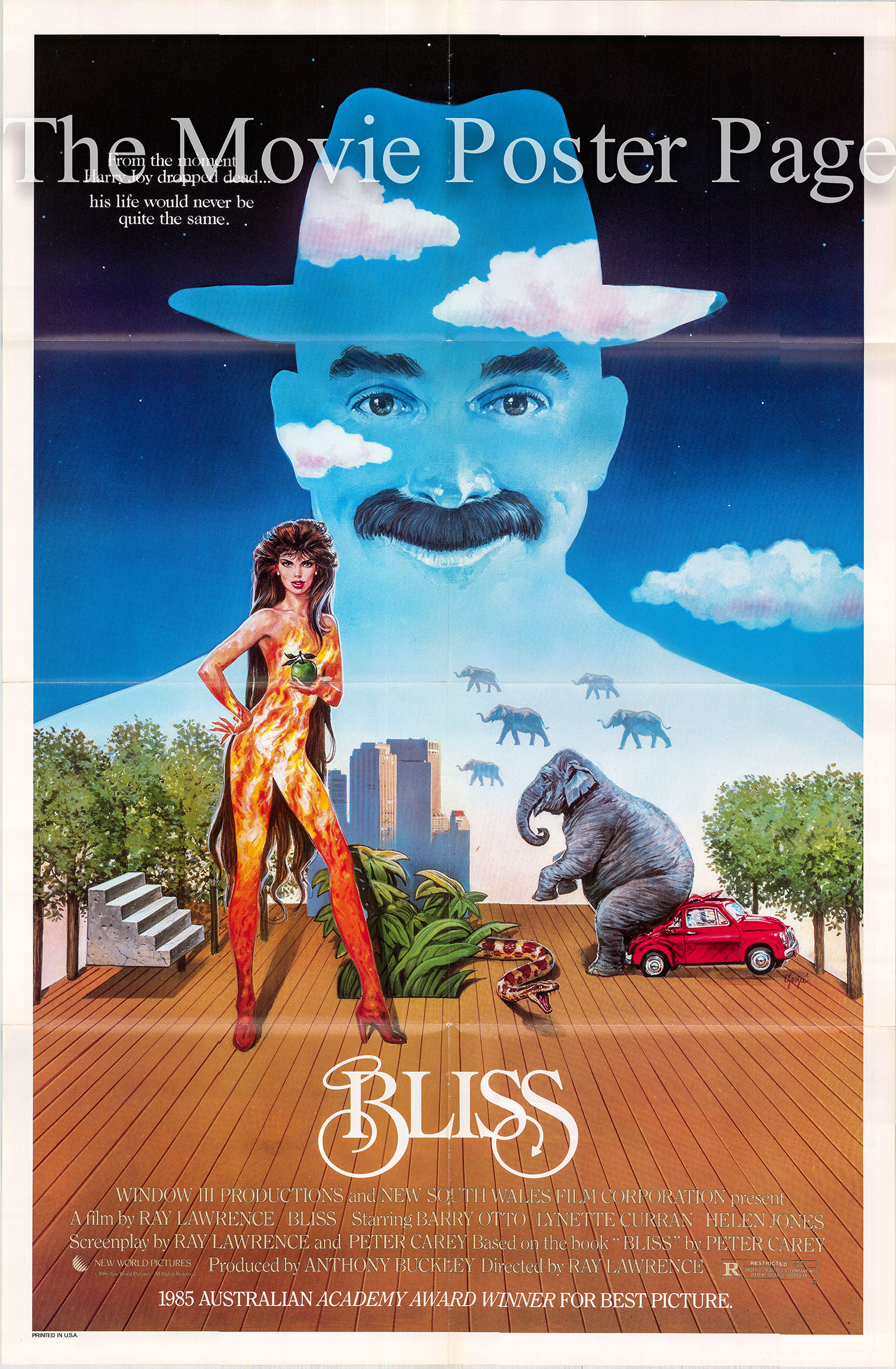 Pictured is a US one-sheet promotional poster for the 1097 Ray Lawrence film Bliss starring Barry Otto.