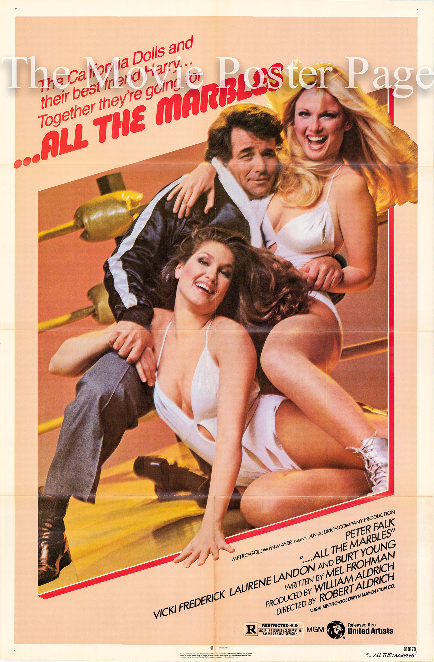 Pictured is a US one-sheet promotional poster for the 1981 Robert Aldrich film All the Marbles starring Peter Falk.