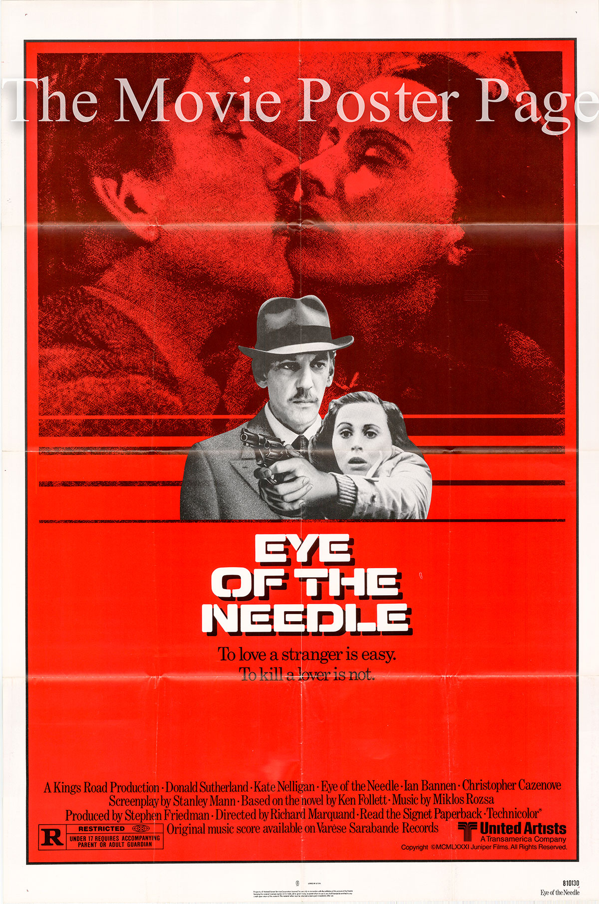 Pictured is a US one-sheet promotional poster for the 1981 Richard Marquand film Eye of the Needle starring Donald Sutherland.