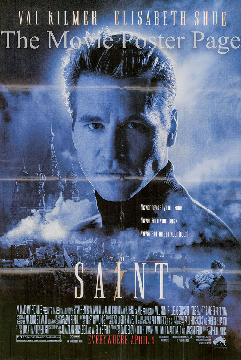 Pictured is a US one-sheet promotional poster for the 1997 Phillip Noyce film The Saint starring Val Kilmer.