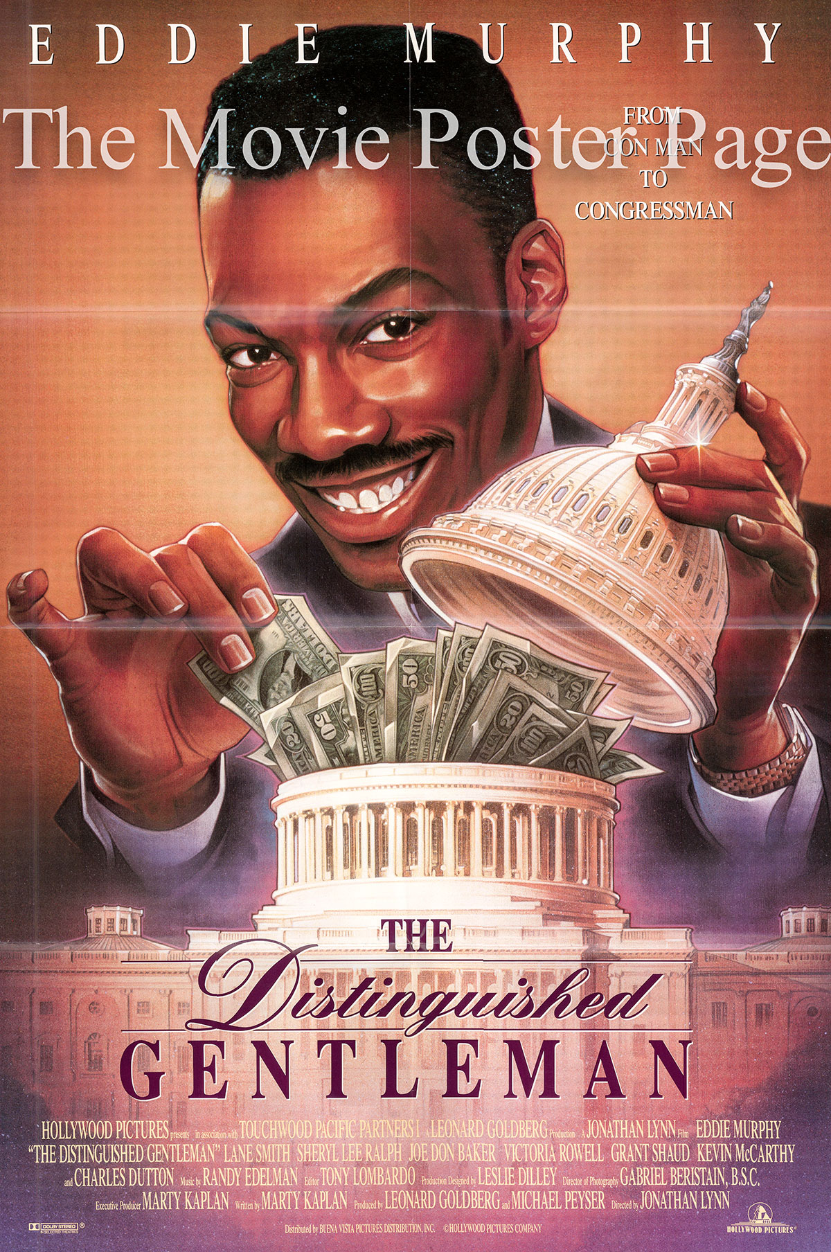 Pictured is a US one-sheet promotional poster for the 1992 Jonathan Lynn film The Distinguished Gentleman starring Eddie Murphy.