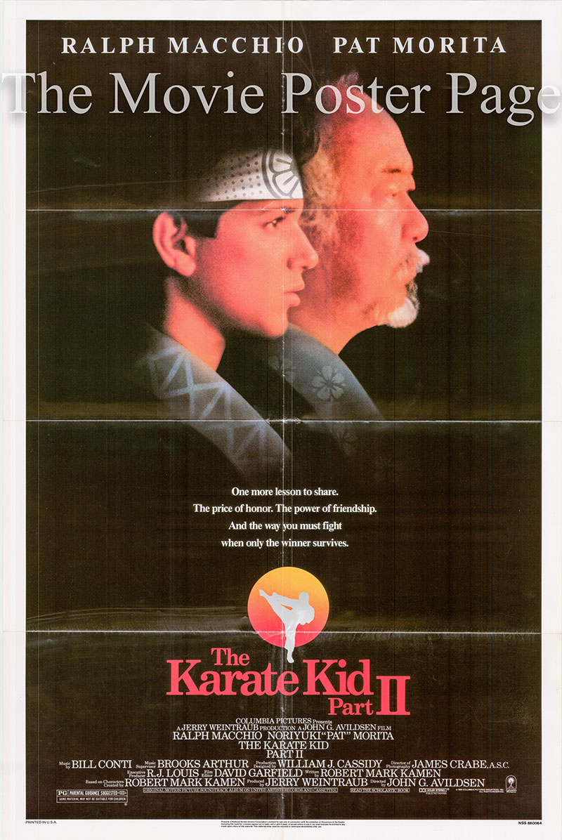 Pictured is a US one-sheet promotional poster for the 1986 John G. Avildsen film The Karate Kid Part II starring Pat Morita.