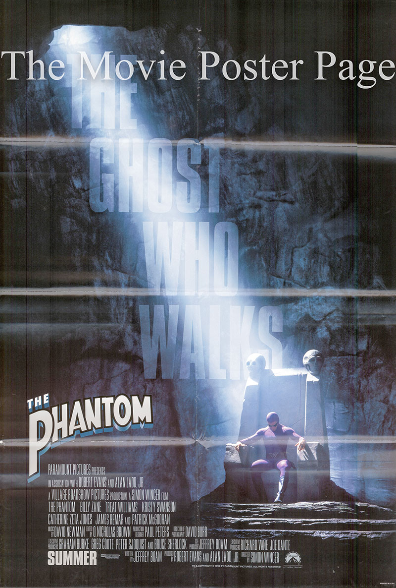 Pictured is a US one-sheet promotional poster for the 1996 Simon Wincer film The Phantom starring Billy Zane.