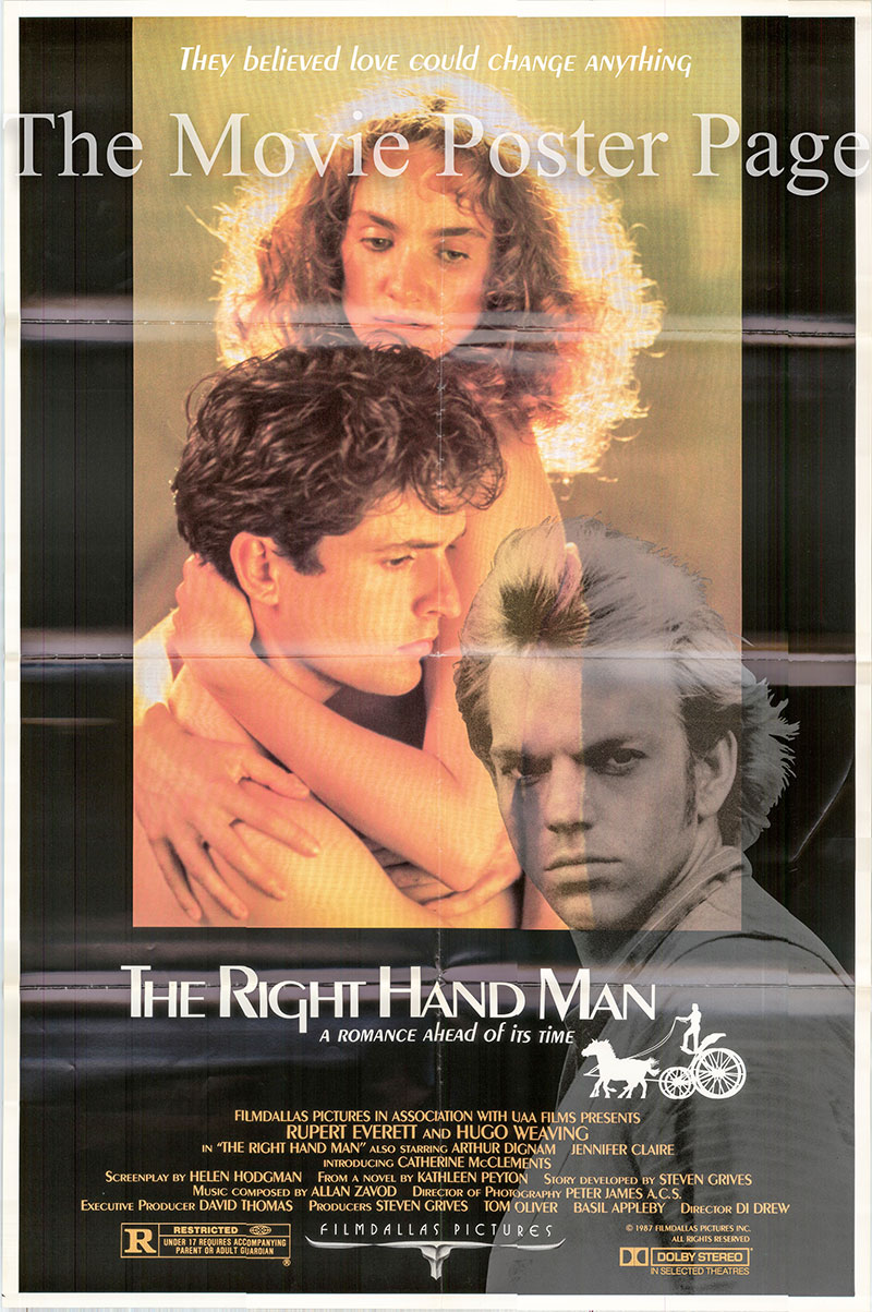 Pictured is a US one-sheet promotional poster for the 1987 Di Drew film The Right Hand Man starring Rupert Everett.