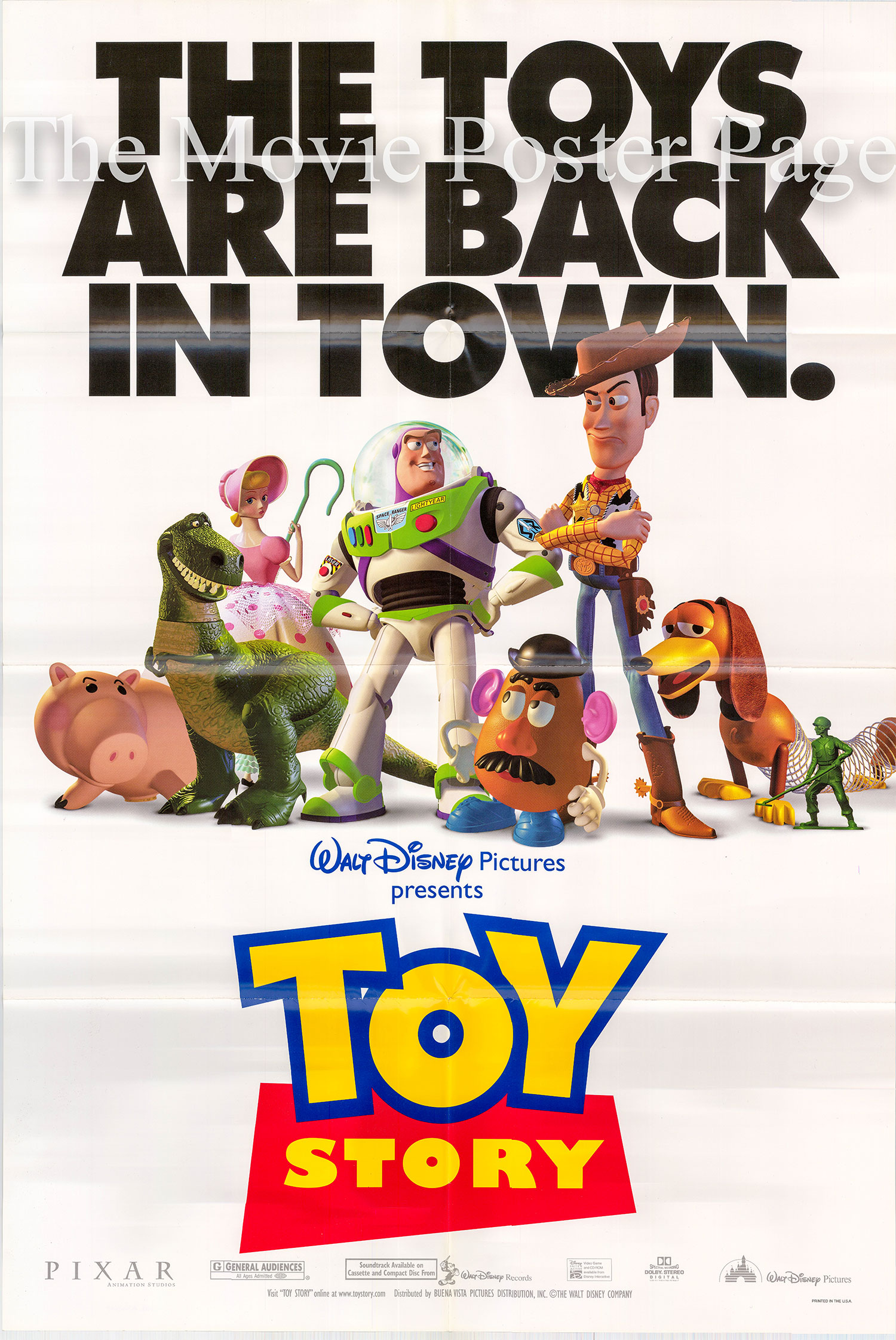 Pictured is a US promotional poster for the 1995 John Lasseter film Toy Story starring Tom Hanks as Woody.