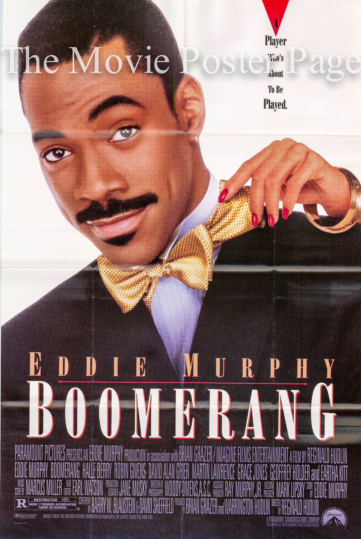 Pictured is a US one-sheet promotional poster for the 1992 Reginald Hudlin film Boomerang starring Eddie Murphy.