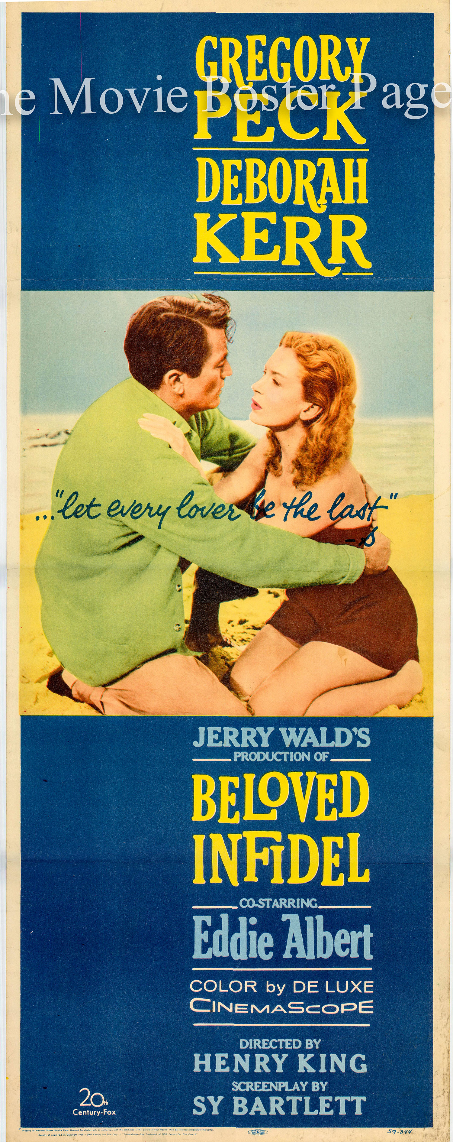 Pictured is a US insert promotional poster for the 1959 Henry King film Beloved Infidel starring Gregory Peck and Deborah Kerr.