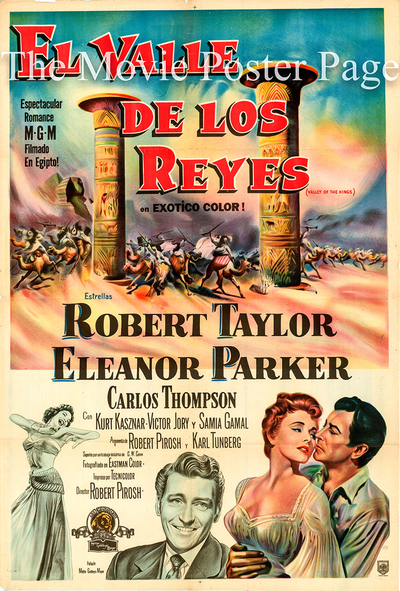 Pictured is an Argentine one-sheet promotional poster for the 1954 Robert Pirosh film The Valley of the Kings starring Robert Taylor and Deborah Kerr.