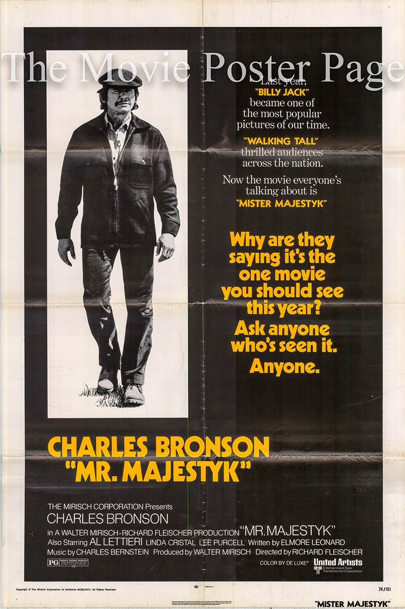 Pictured is a US one-sheet promotional poster for the 1974 Richard Fleischer film Mr. Majestyk starring Charles Bronson.