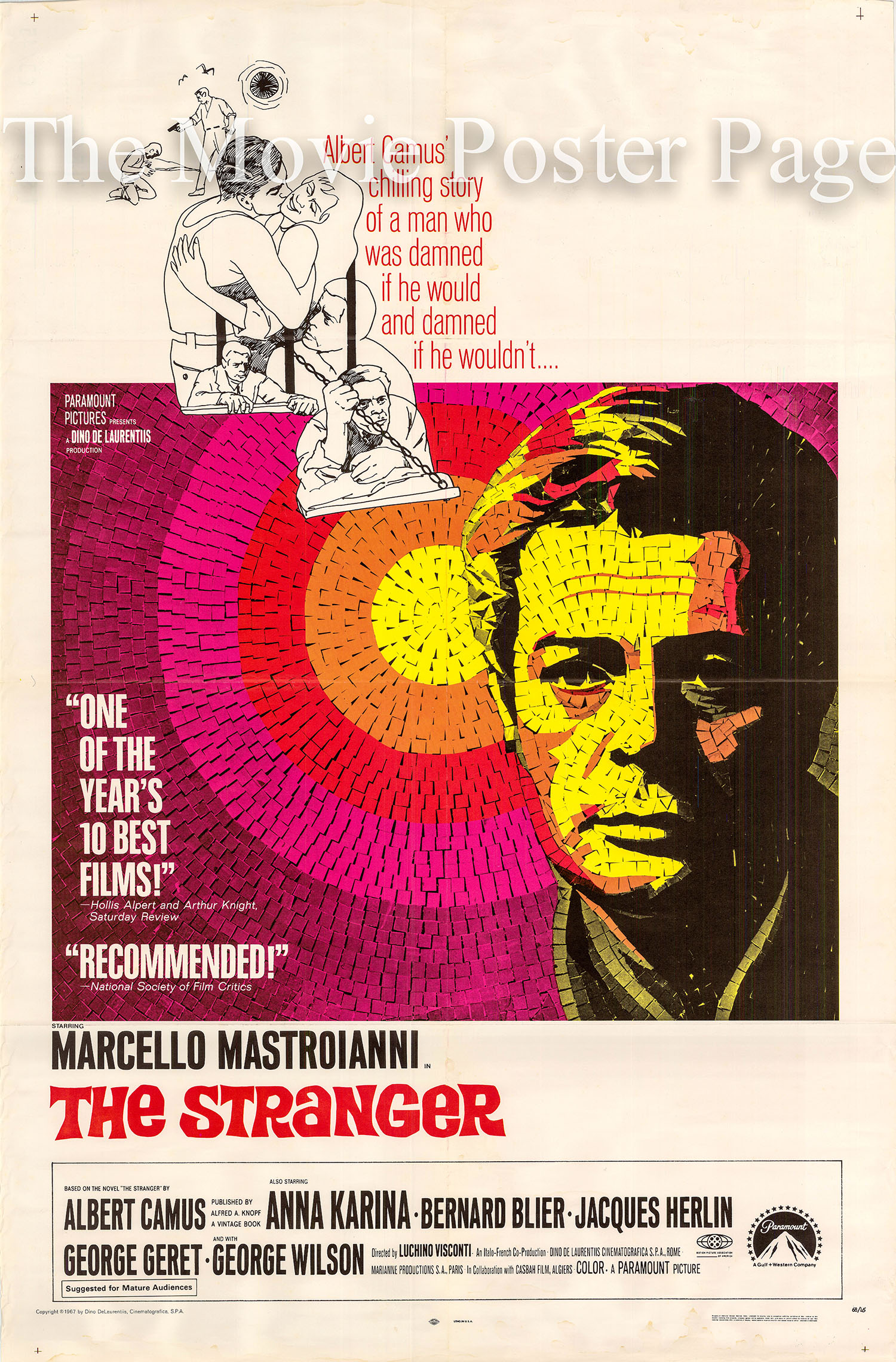 Pictured is a US one-sheet promotional poster for the 1967 Luchino Visconti film The Stranger starring Marcello Mastroianni.