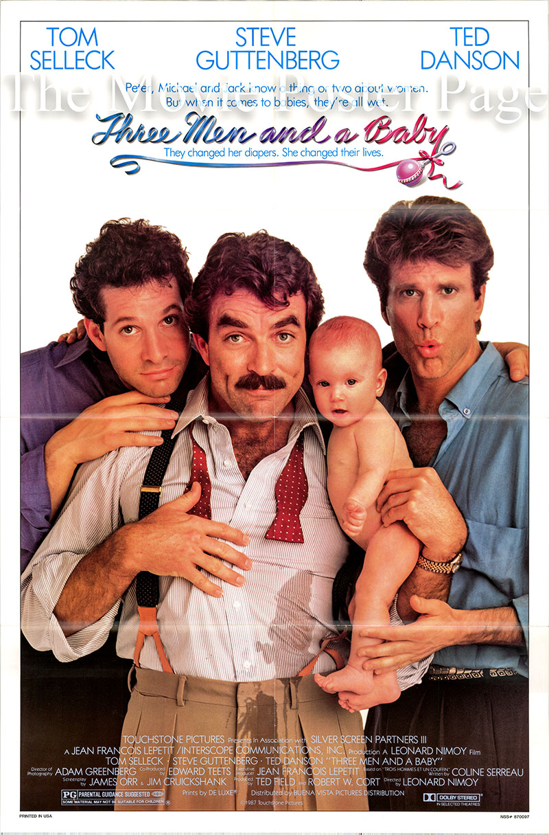 Pictured is a US one-sheet promotional poster for the 1987 Leonard Nimoy film Three Men and a Baby starring Tom Selleck.