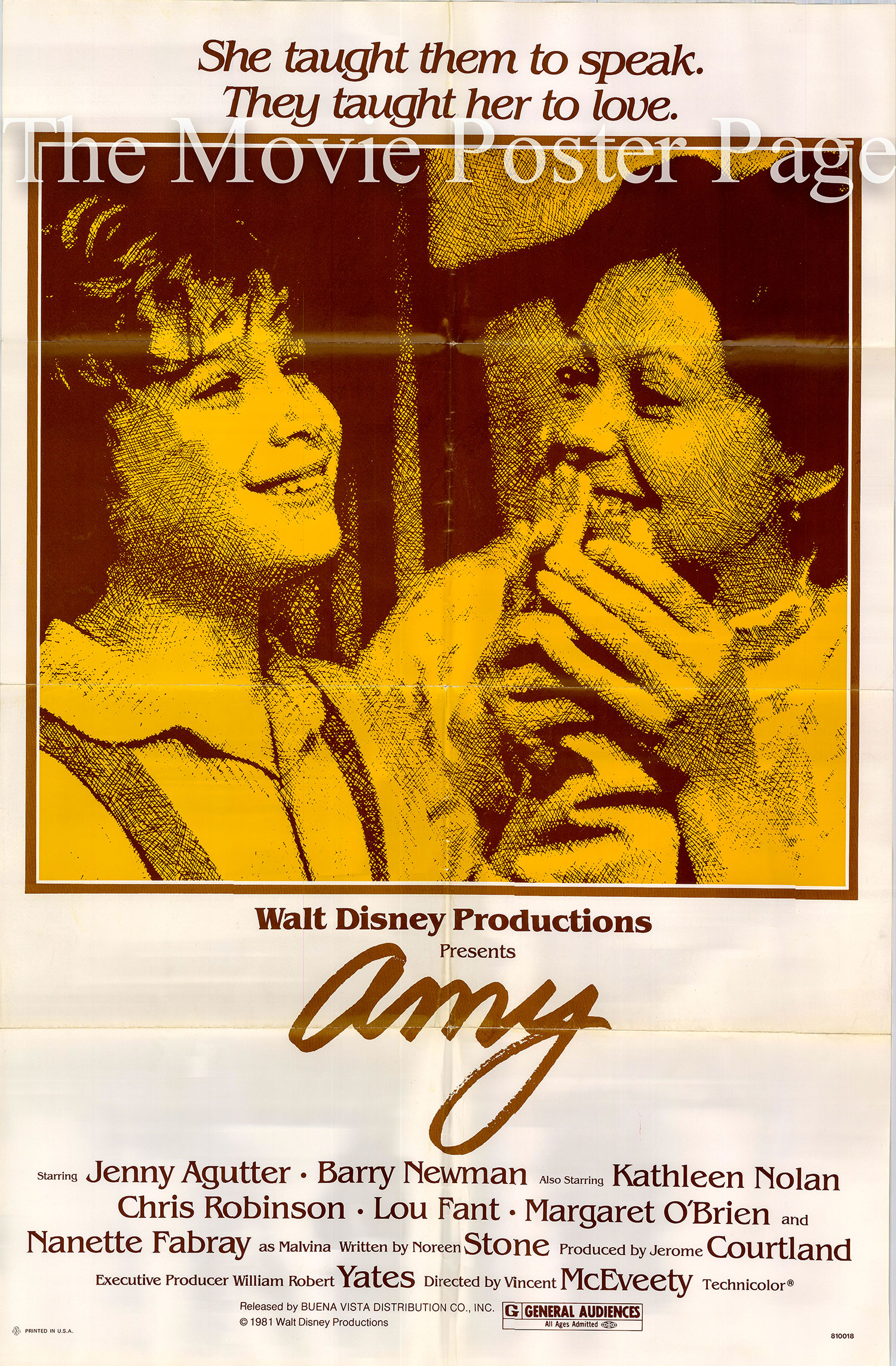 Pictured is a US promotional poster for the 1981 Vincent McEveety film Amy starring Jenny Agutter.