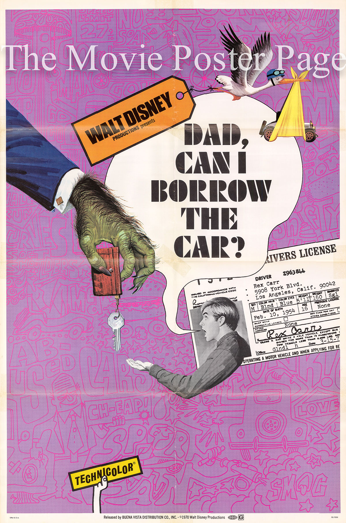 Pictured is a US promotional poster for the 1970 Ward Kimball film Dad, Can I Borrow the Car? starring Kurt Russell as the narrator.