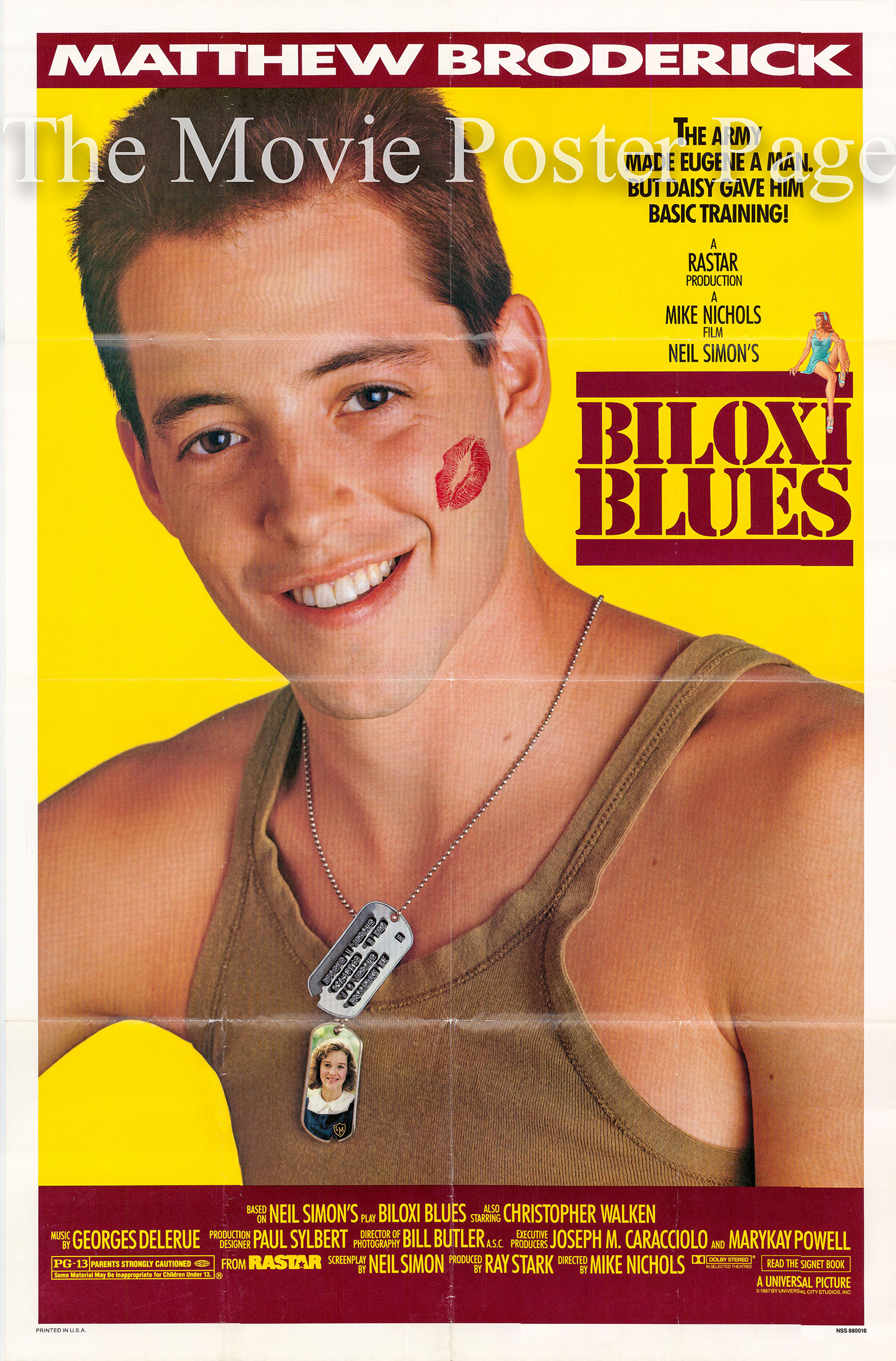 Pictured is a US one-sheet promotional poster for the 1988 Mike Nichols film Biloxi Blues starring Matthew Broderick.