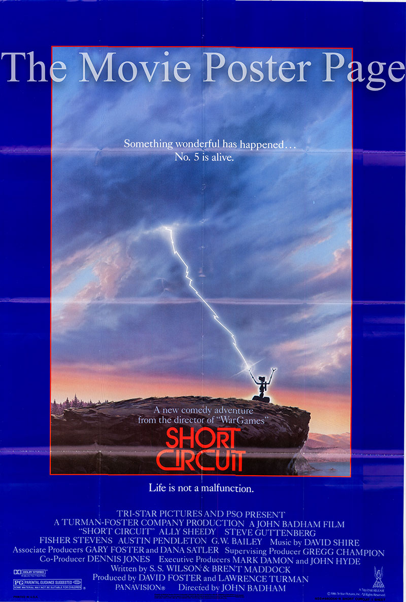 Pictured is a US one-sheet promotional poster for the 1986 John Badham film Short Circuit starring Ally Sheedy.